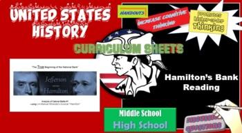 "American Gov't / History Cabinet Battle Close Read Using the musical 'Hamilton"""