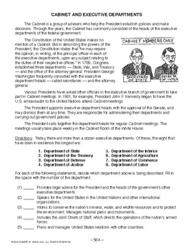 Cabinet and Executive Departments, AMERICAN GOVERNMENT LESSON 56 of 105