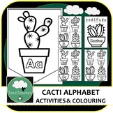 Cactus ABCs - Alphabet Matching, Capital & Lowercase Puzzles, Coloring Pages