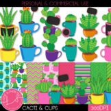 Cacti, Cups, & Chalkboards Clip Art & Digital Paper Set