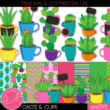 Cacti, Cups, & Chalkboards Clip Art & Digital Paper Set