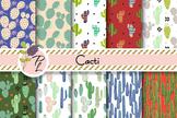 Cacti Desert Patterns Seamless Pattern Set. Digital paper pack.