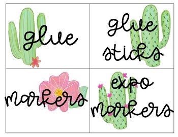 Cacti School Supply Labels