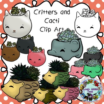 Cacti in Critter Pots Clip Art