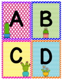 Cactus ABC Word Wall Cards or Flashcards