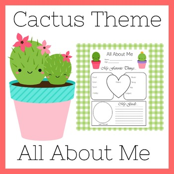Cactus All About Me | Cactus Theme All About Me Poster