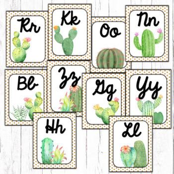 Cactus Classroom Decor Alphabet Posters