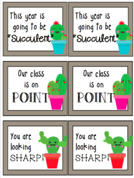 Cactus Back to School Cards/Tags