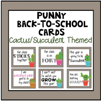 Astonishing Cactus Back To School Cards Tags By Turtully First Grade Funny Birthday Cards Online Fluifree Goldxyz