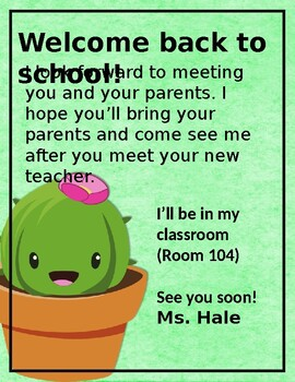 Cactus Back to School Letters