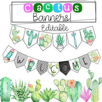 Editable Cactus Banner