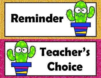 Cactus Behavior Chart with parent calendars