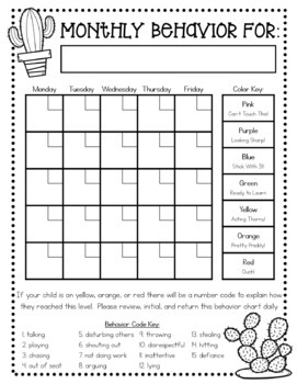 Cactus behavior clip chart parent note calendar in for Monthly behavior calendar template