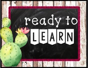 Cactus Classroom Decor Behavior Clip Chart