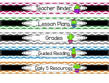 Cactus Binder Covers and Spines {Editable}