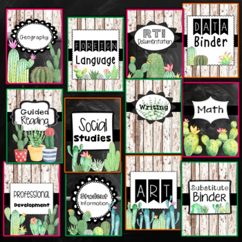 Cactus Binder Covers and Spines Editable