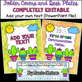 Cactus Binder/Folder Covers and Desk Plates COMPLETELY EDITABLE