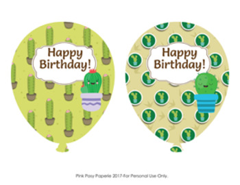 Cactus Birthday Balloons