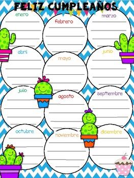 Cactus Birthday Poster {English/Spanish Versions}