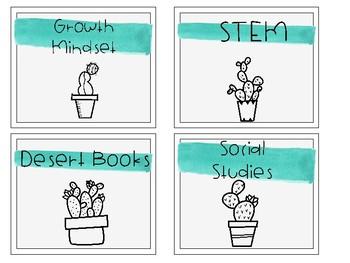 Cactus Book Bin Labels