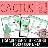 Cactus Brochure Theme Editable Meet The Teacher Templates Back To School