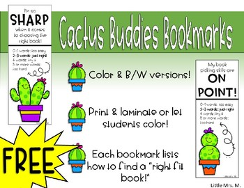 Cactus Buddies Bookmarks with Right Fit Book Guide