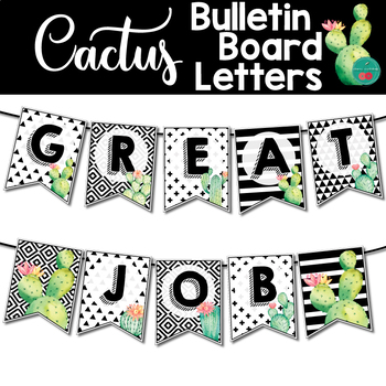 photo relating to Bulletin Board Letters Printable called Cactus Bulletin Board Letters Printable