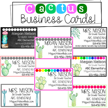 Cactus Business Cards!-Editable!
