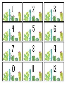 Cactus Calendar Numbers