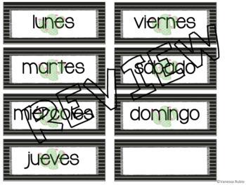 Cactus Calendar Set in Spanish