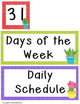 Cactus Calendar and Schedule Set