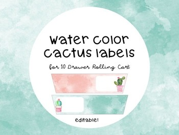 EDITABLE Cactus Themed Rolling Cart Drawer Labels