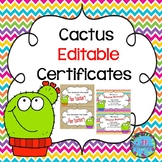 Cactus Certificates and Awards (Editable)