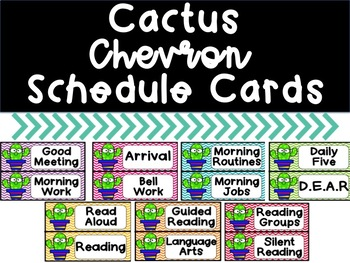 Cactus Chevron Schedule Cards