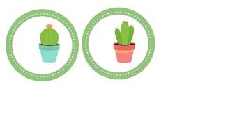 Cactus Circle Name Tags Editable