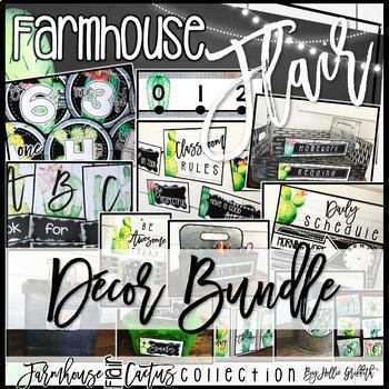 Farmhouse Flair Cactus Classroom Decor BUNDLE