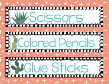 Cactus Classroom Decor Set Editable Succulents Back to School