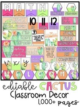 Cactus Classroom Decor Editable GROWING BUNDLE