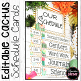 Cactus Classroom Decor Editable Schedule Cards