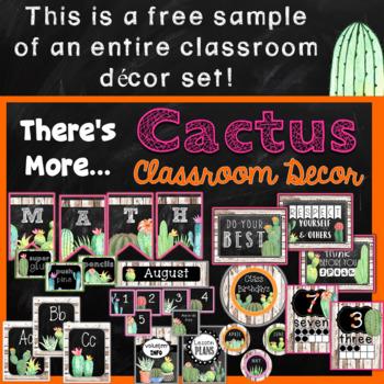 Cactus Classroom Decor FREEBIE