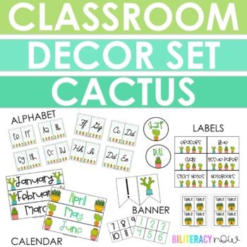 ENGLISH Cactus Classroom Decor Set! Over 100 pages!