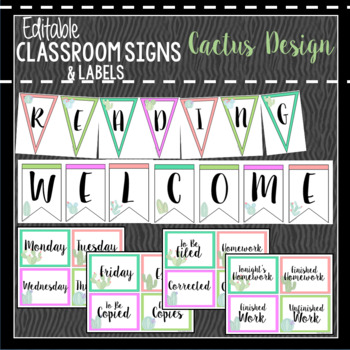 Cactus Classroom Decor, Signs and Labels: Editable