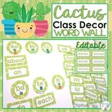 Cactus Classroom Decor Succulent Classroom Decor Word Wall Words EDITABLE
