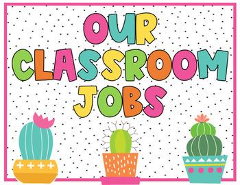 Cactus Classroom Jobs Classroom Decor By Sandys Schoolhouse Style