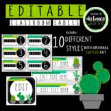 EDITABLE Cactus Classroom Labels