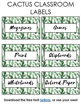 Editable Cactus Classroom Labels Printable