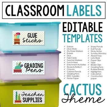 Cactus Classroom Labels: Extreme Makeover Classroom Edition