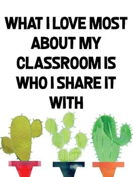 Cactus Classroom Poster - Freebie