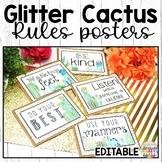 Cactus Classroom Decor Rules Editable