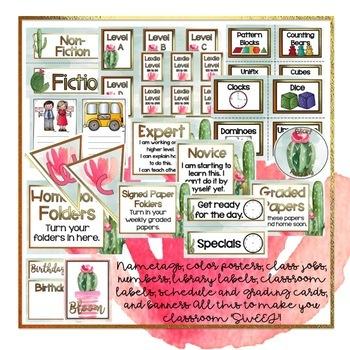 Cactus Classroom Decor Editable
